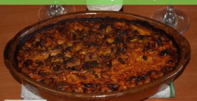 Arroz al horno con legumbres y setas