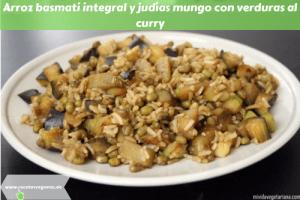 Arroz basmati integral y judías mungo con verduras al curry